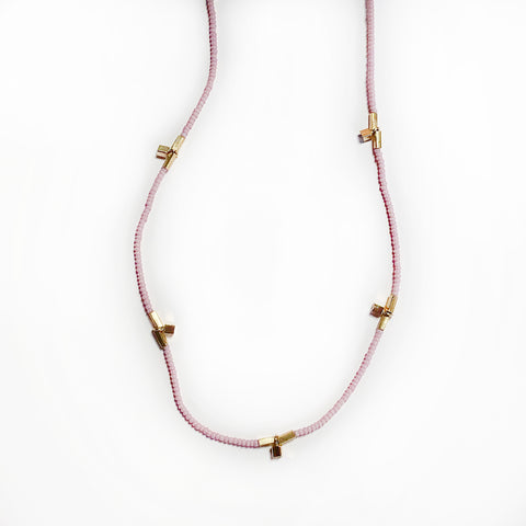Debbie Fisher - Pink Seed Beads with Vermeil Cube Beads
