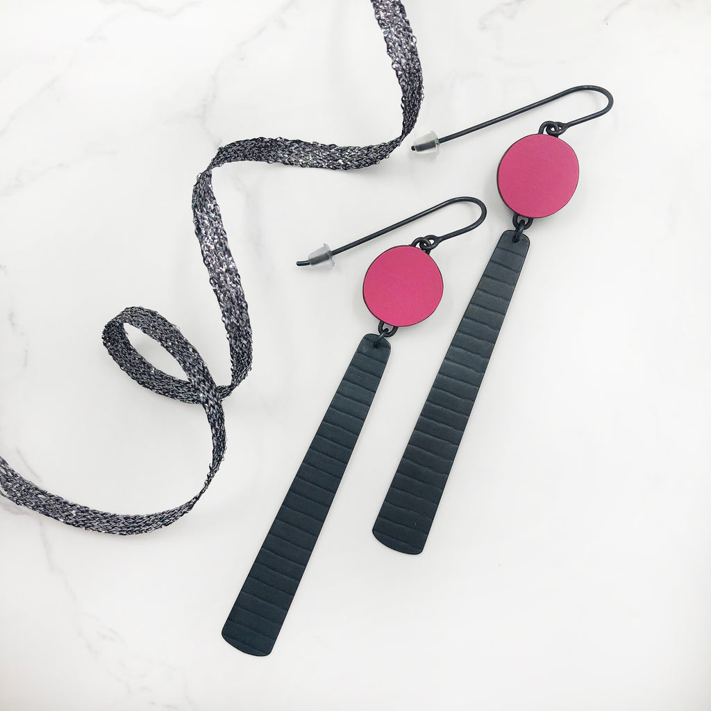 Emily Kidson - Pink Circle And Stripe Earrings