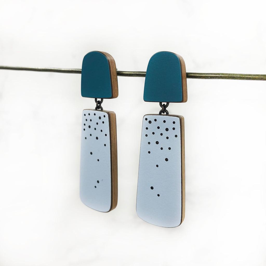 Emily Kidson - Teal and Blue Double Laminate Earrings