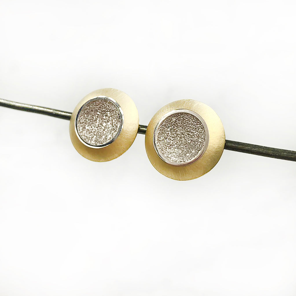 Geoffrey D Giles Jewelry - White and Yellow Gold Studs