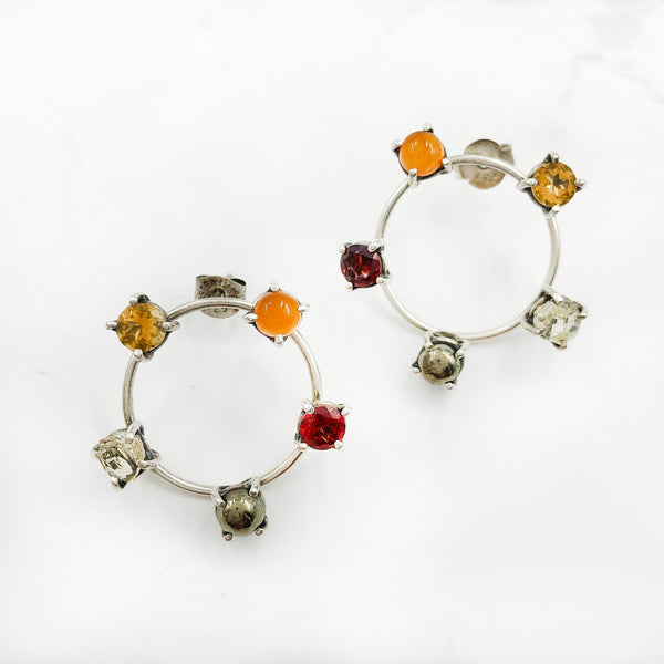 Joanna Gollberg - Circle Earrings with Five Stones