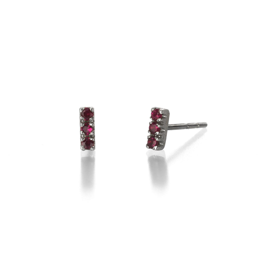 Justin Brown - Oxidized ruby studs
