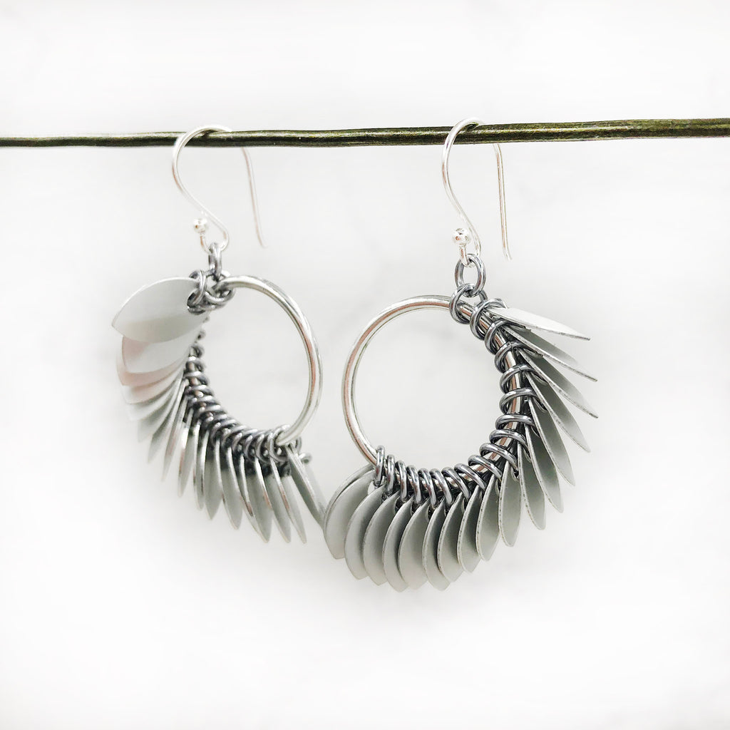 Karen Karon - Tiny Scale Winged Circle Earrings