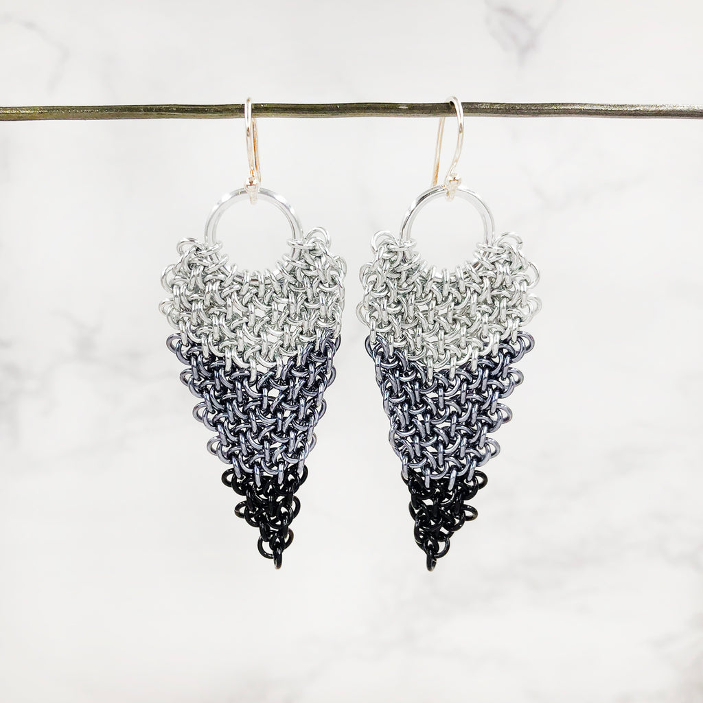 Karen Karon - Chain Maille Earrings with Hoodoo Hex Weave