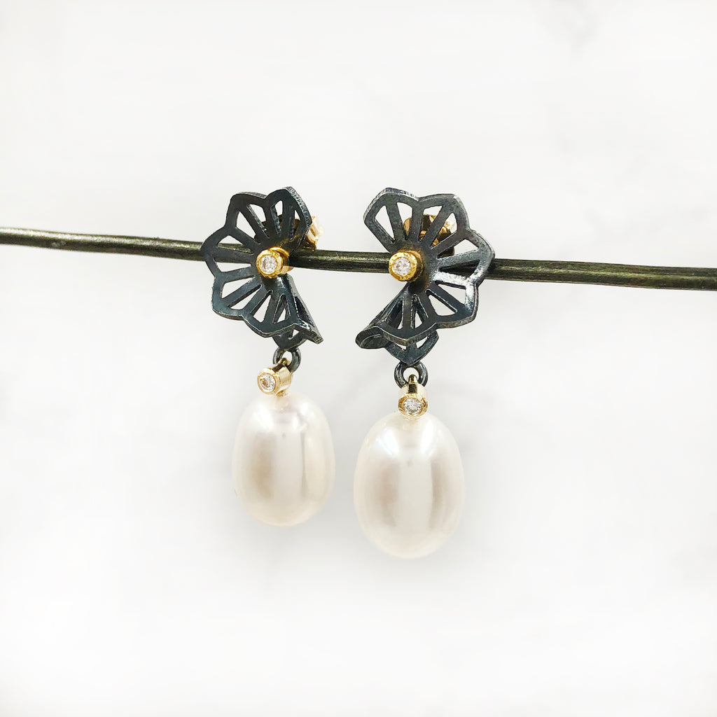 Karin Jacobson - Hyacinth Wing Pearl Earrings