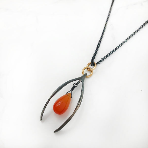 Kirsten Ball - Oxidized Wishbone Necklace with Orange Chalcedony