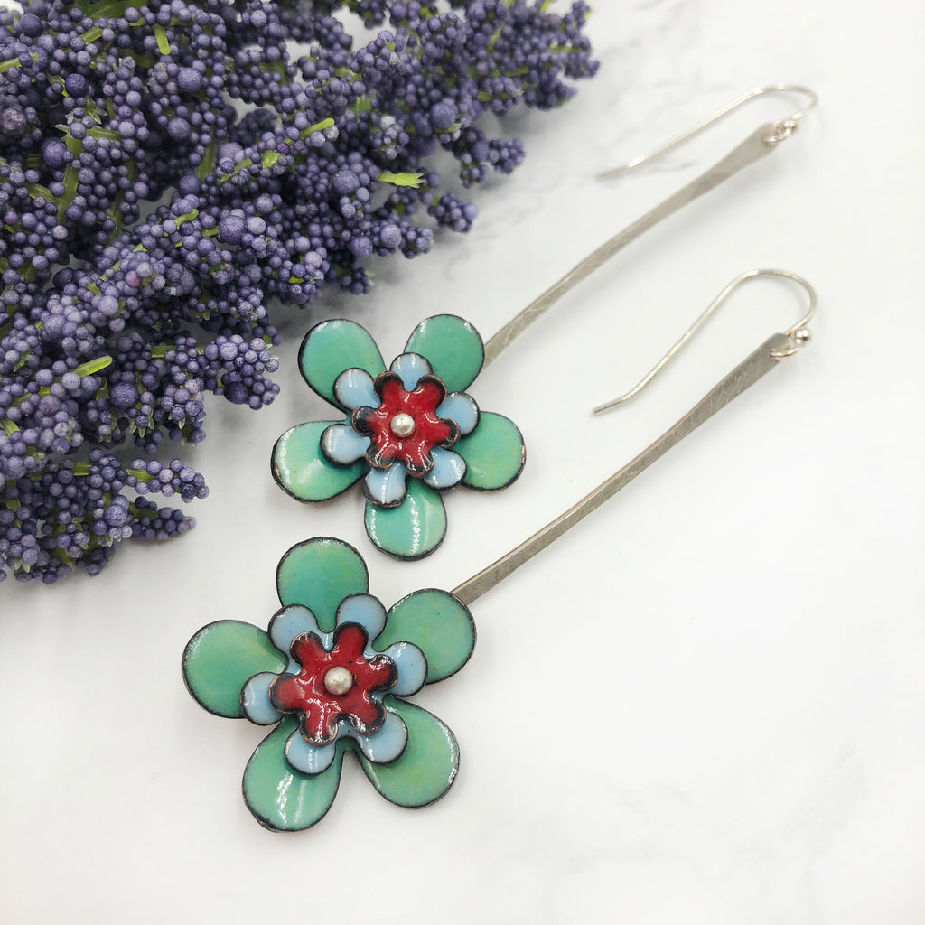Kirsten Denbow Designs - Long Light Blue Flower Earrings