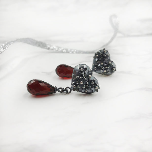 Liz Clark - Flower Heart Oxidized Earrings with Garnet Briolettes