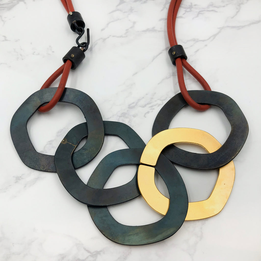 Maia Leppo - Steel and Gold Necklace
