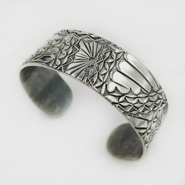 Matthieu Chemineé - Floral Stamped Sterling Cuff