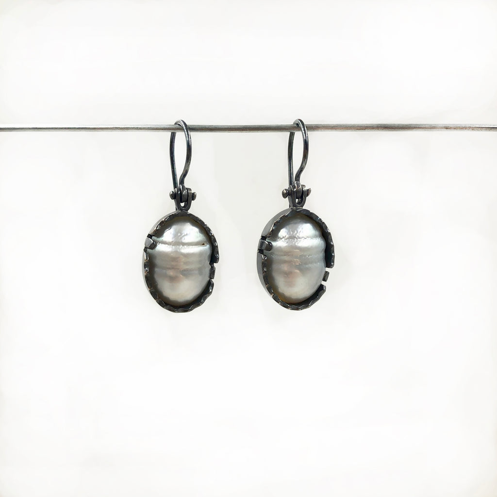 Ryan Gardner - Oxidized Sterling Silver and White South Sea Pearl Earrings