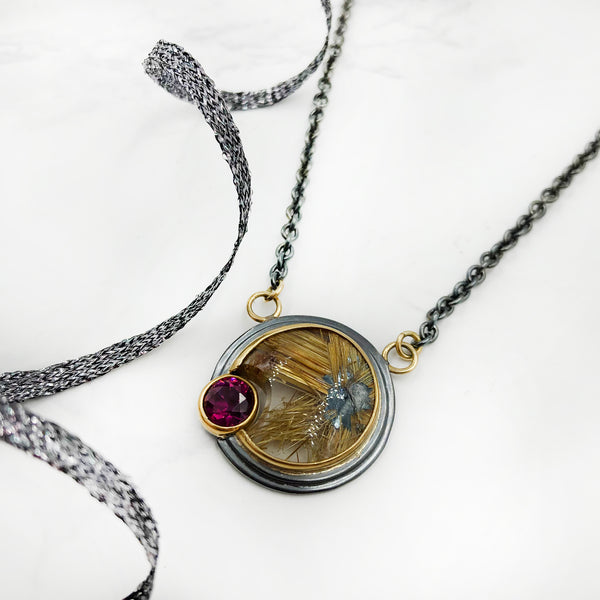 Ryan Gardner - Rutilated Quartz Pendant With Garnet