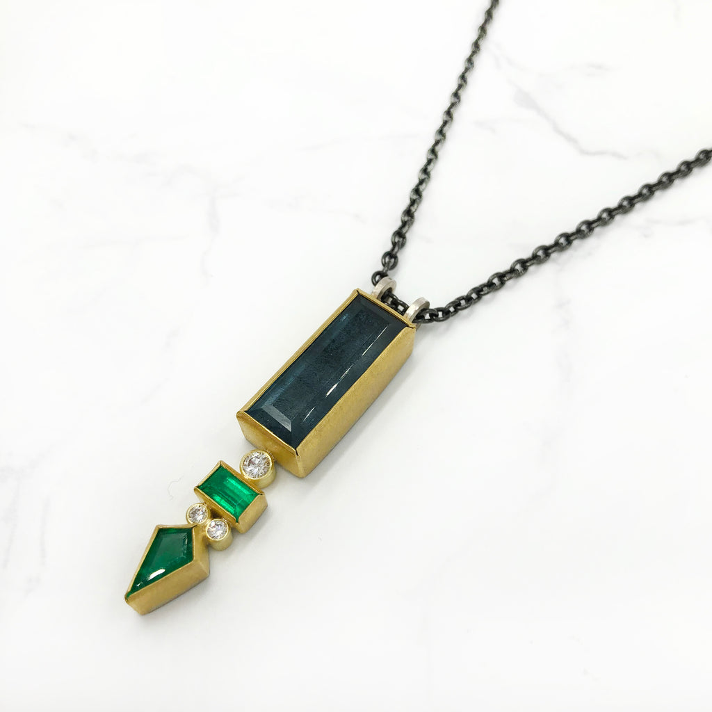 Sam  Woehrmann - Aqua and Emerald Pendant