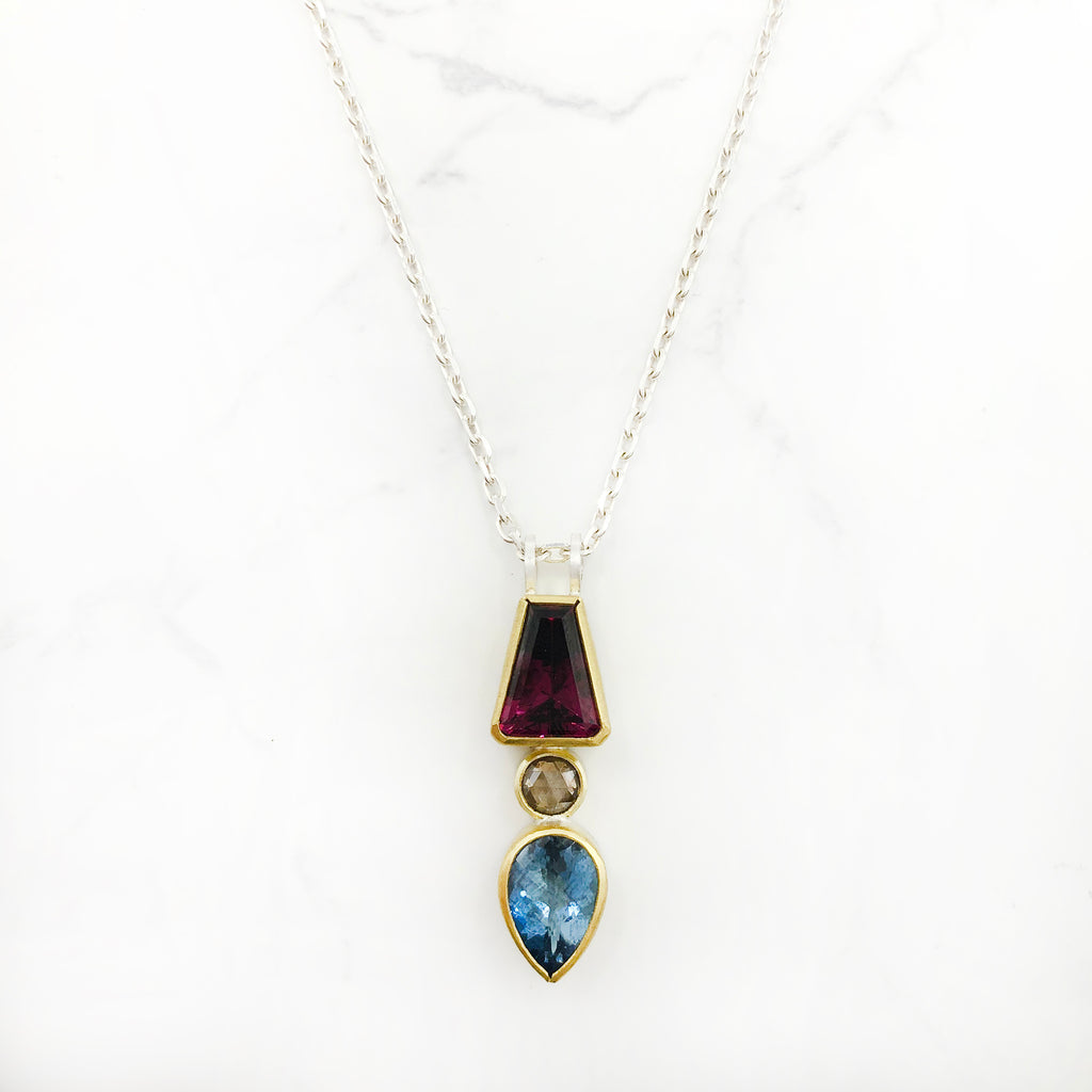Sam  Woehrmann - Garnet, Aqua and Diamond Pendant