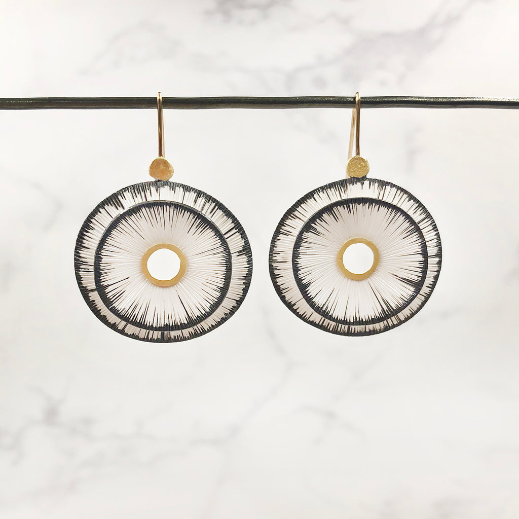 Susan Mahlstedt - Double Layer Depletion Gilded Earrings