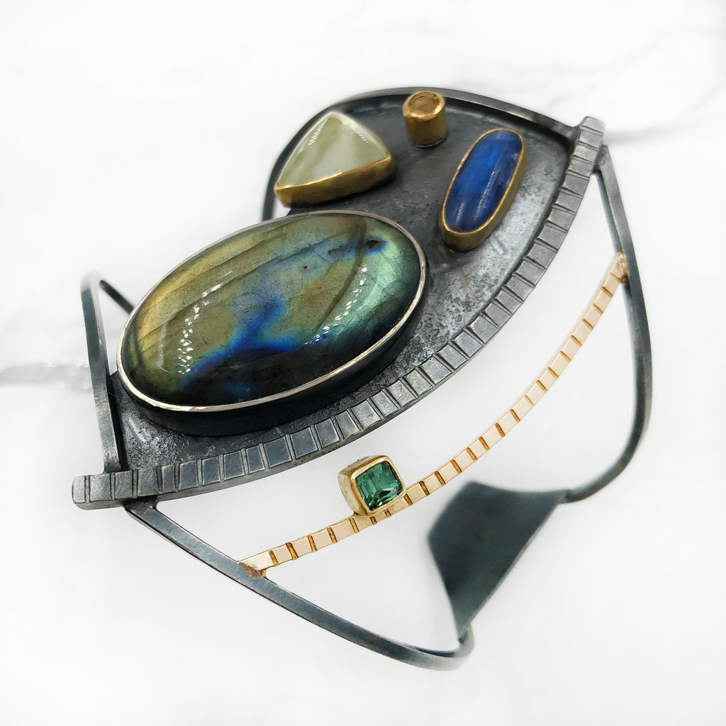 Tammy B Jewelry - Gauntlet Cuff With Labradorite, Prehnite, Kyanite and Tourmaline