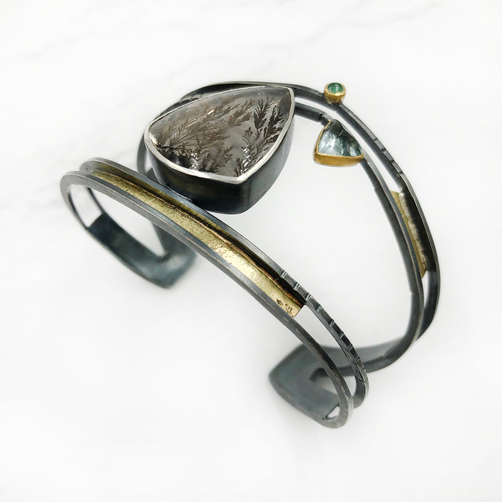 Tammy B Jewelry - Crown Cuff With Dendritic Quartz
