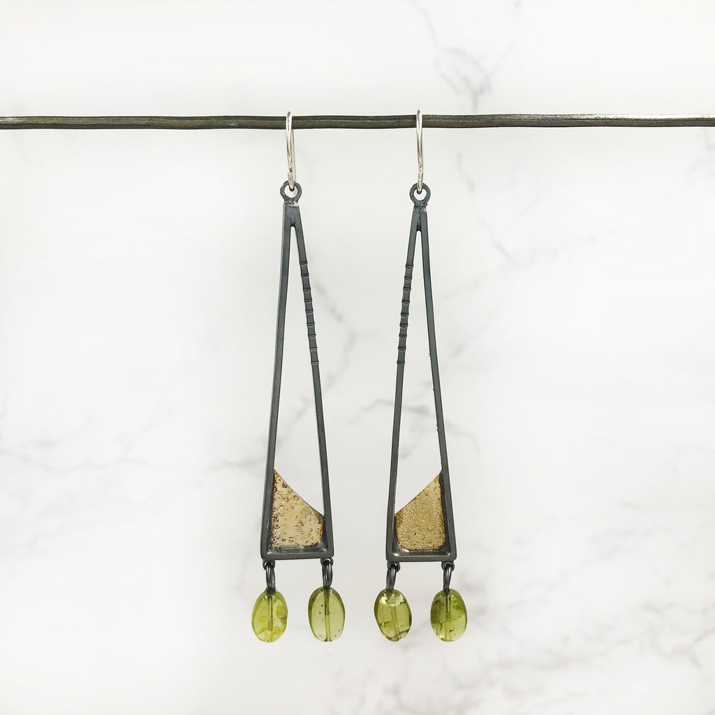 Tammy B Jewelry - Triangular Peridot Earrings