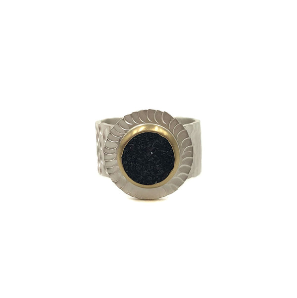 Susan Mahlstedt - Wide Ring Round Black Druzy