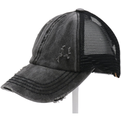 Washed Denim Criss-Cross High Ponytail CC Ball Cap- Black
