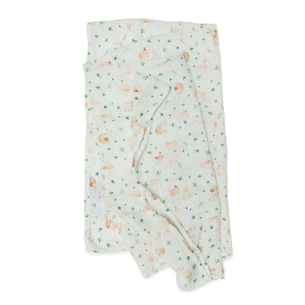 LouLou Lollipop Bunny Meadow Muslin Swaddle