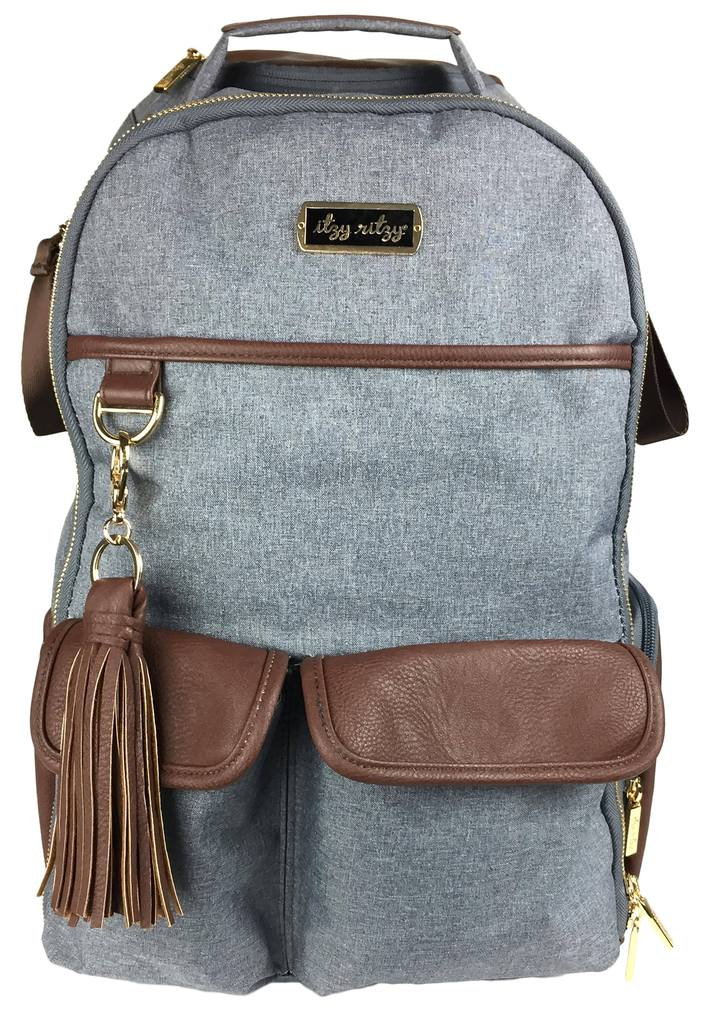Itzy Ritzy Handsome Heather Gray Boss Diaper Bag Backpack