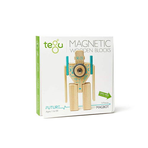 Tegu Magbot Magnetic Wooden Blocks Future Collection, 9 Pieces