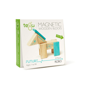 Tegu Robo Magnetic Wooden Blocks Future Collection, 8 Pieces