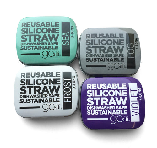 GoSili and SiliKids-Single Silicone Straws in tin XL