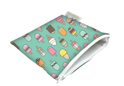 Itzy Ritzy Snack Happens Reusable Snack and Everything Bag- Ice Cream Social