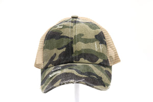 Distressed Camouflage Criss-Cross High Ponytail CC Ball Cap- Olive