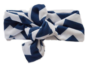 Knot Happens Top Knot Headband- Chevron Navy
