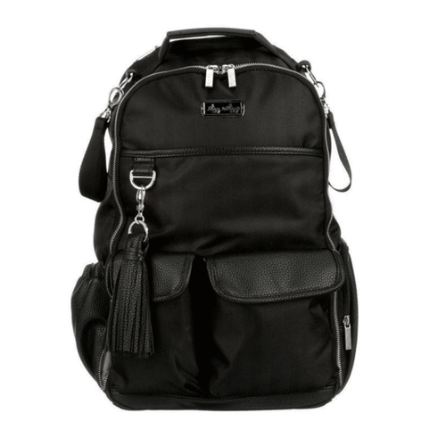 Itzy Ritzy Black Herringbone Boss Diaper Bag Backpack