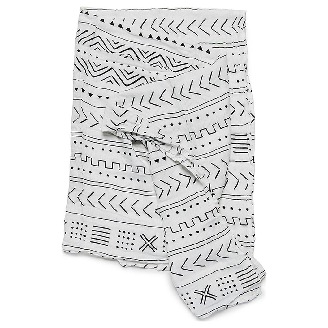 LouLou Lollipop White Mudcloth Muslin Swaddle