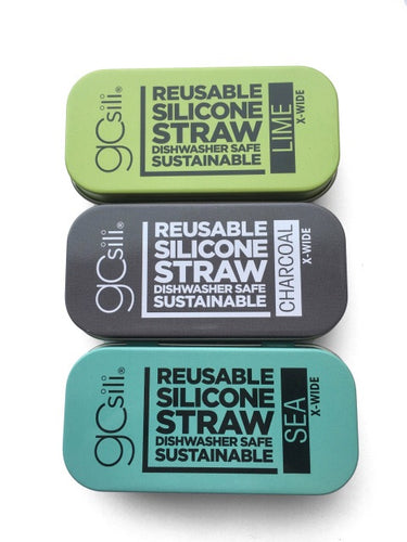 GoSili and SiliKids-Single Silicone Straws in tin XWide