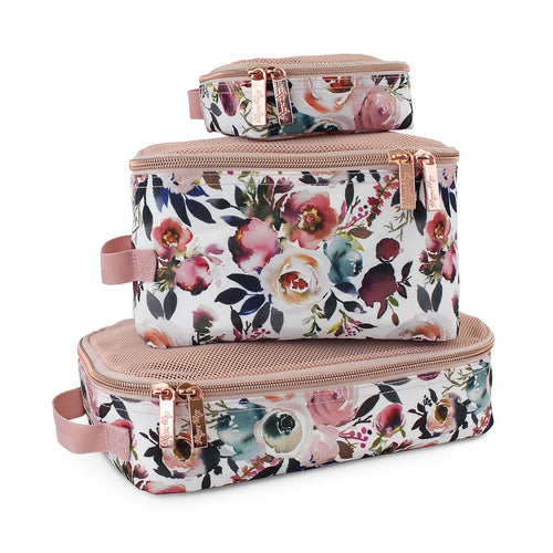 Itzy Ritzy Packing Cubes- Floral and Taupe