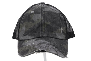 Distressed Camouflage Criss-Cross High Ponytail CC Ball Cap- Black