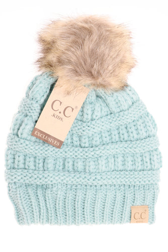 CC Beanie Fur Pom KIDS- Multiple Colors Available