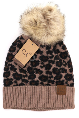 CC Beanie Leopard Print Fur Pom- Multiple Colors Available