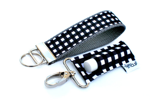 LippyClip- Black and White Buffalo Check