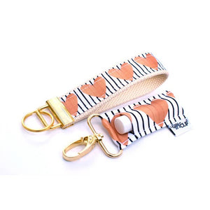LippyClip- Stripe with Gold Hearts