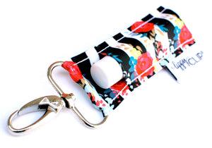 LippyClip- Black and White Stripe with Floral