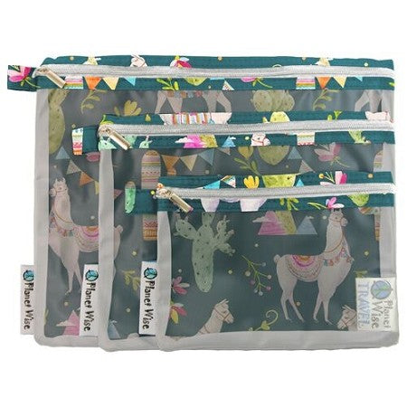 Planet Wise Clear Pouch- 3-Pack- Llama Party