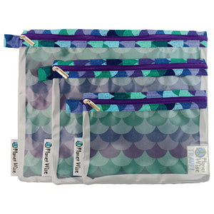 Planet Wise Clear Pouch- 3-Pack- Mermaid Tail