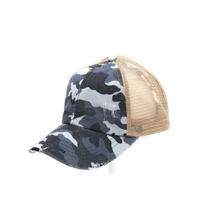 Distressed Camouflage Criss-Cross High Ponytail CC Ball Cap- Navy