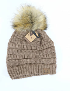 CC Beanie Fur Pom- Multiple Colors Available