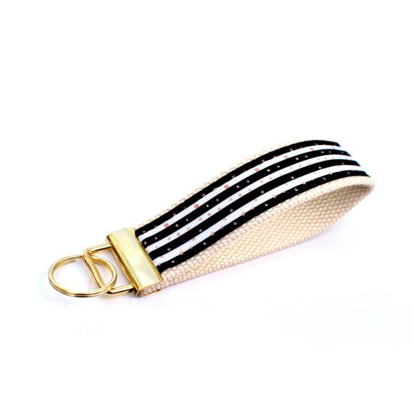 LippyClip- Black and White Stripes with Gold Dots
