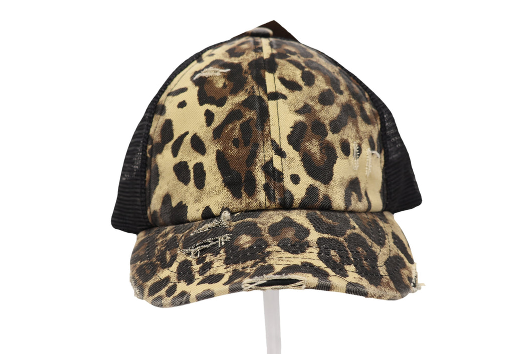 Washed Denim Criss-Cross High Ponytail CC Ball Cap- Leopard