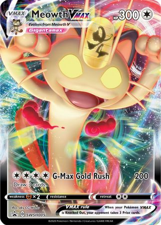 MEOWTH V MAX PROMO CARD - SWORD & SHIELD