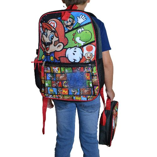 SUPER MARIO BACKPACK 5 PIECES (LUNCH BOX, PENCIL CASE, ICE PAK, WATER BOTTLE)